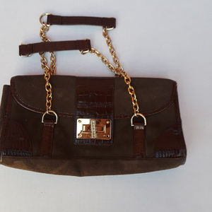 Lauren Ralph Lauren brown handbag with gold strap